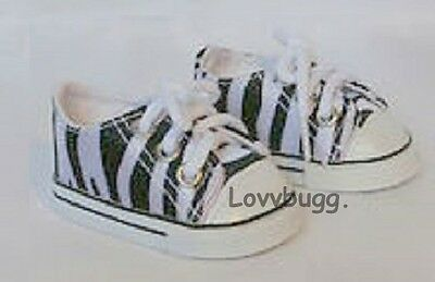 """Lovvbugg Zebra Sneakers for 18"""" American Girl or Boy or Bitty Baby Doll Shoes"""