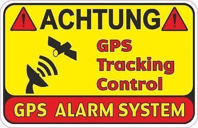 2 Stück ACHTUNG GPS TRACKING CONTROL Diebstahlschutz Aufkleber Warnaufkleber