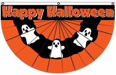 Happy Halloween Ghost Bunting Flag 5x3 ft Party Decoration Haunted House Wall - Halloween Bunting