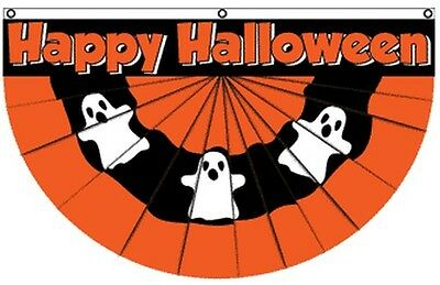 Happy Halloween Ghost Bunting Flag 5x3 ft Party Decoration Haunted House Wall - Halloween Ghost Bunting