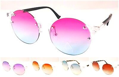 Wholesale 12 Pair Women Retro Crystal Round Rimless Sunglasses with Oceanic Lens
