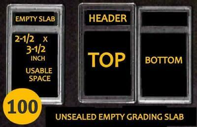 Lot of 100 EMPTY PROFESSIONAL Unsealed Graded Card Slabs HOLDER for GRADING NEW
