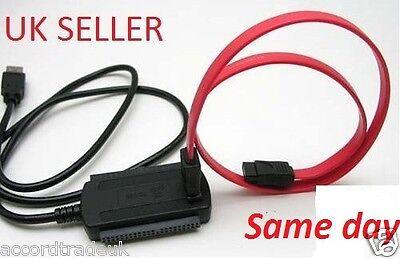 USB 2.0 to SATA/IDE Serial ATA HDD Adapter Cable Uk Seller d'occasion  Expédié en Belgium