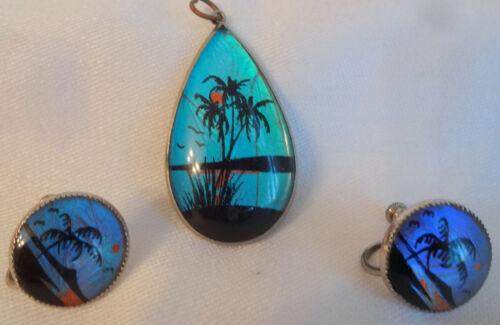Butterfly Wing Tropical Landscapes Pendant Necklace Earrings Edwardian Art Deco
