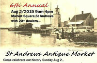 6th Annual St.Andrews Antique Market and Sale. 25 plus dealers.