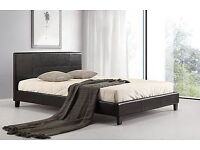 ** FREE DELIVERY ** Double Leather Bed Frame With Semi Ortho Mattress*we do single bed kingsize bed
