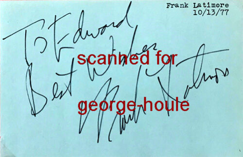 FRANK LATIMORE - AUTOGRAPH - PHOTOGRAPH - 1977 - GUIDING LIGHT - SUKARNO