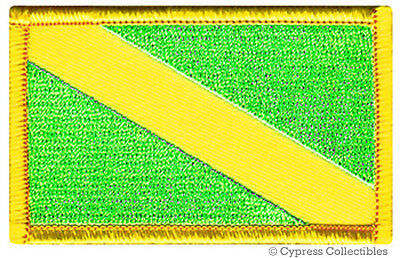 NITROX SCUBA DIVING iron-on PATCH EMBROIDERED FLAG FLUORESCENT GREEN DIVER DOWN