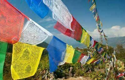 Tibetan Prayer Flags 3.2 metres Long 14x13cm Flags Religion Buddhist Spirit Deco