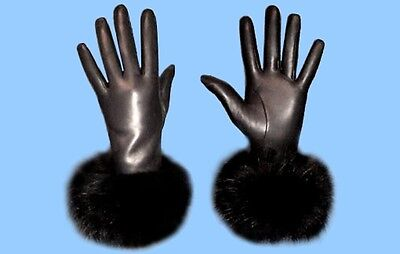 NEW WOMENS size 7 BLACK LEATHER GLOVES with GENUINE BLACK FOX FUR TRIM