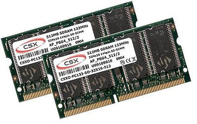 2x 512MB 1GB RAM PC133 PowerBook G4 3,2 3,3 2001 2002 SODIMM CSX SDRAM Apple ()