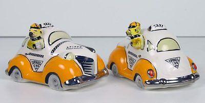 Henry Cavanagh Spikes Taxi Cab Bulldog Driving Retro Car Salt Pepper Shakers NIB