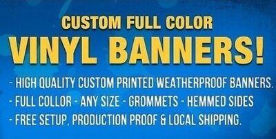 6'x 10' Custom Banner Full Color High Quality Vinyl Free Design Free Shipping