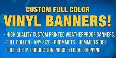 4'x 12' Custom Banner Full Color High Quality Vinyl Free Design & Free Shipping