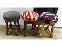 30+ SHORT VINTAGE WOODEN PUB STOOLS: MICROPUB, PUB, CLUB, MAN CAVE, HOME BAR, CAFE, BISTRO ALE, BREW