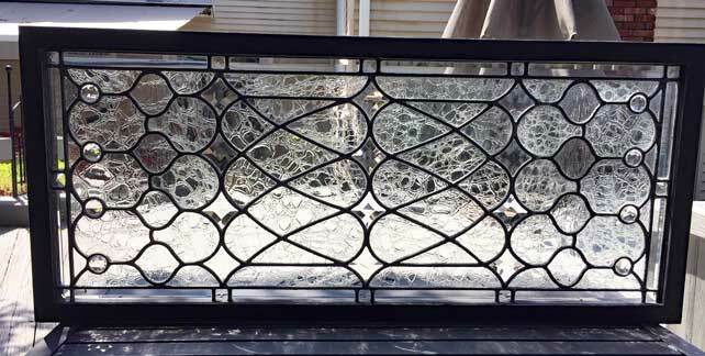 ANTIQUE BEVELED , LEADED (STAINED) GLASS WINDOW - TRANSOM W/ JEWELS