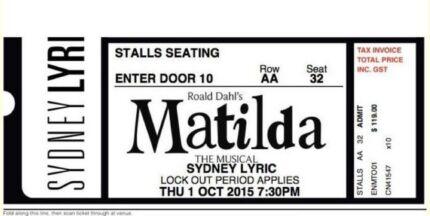 1 x Matilda the Musical ticket - Sydney Lyric, Great saving! Kuraby Brisbane South West Preview
