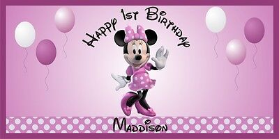 Personalized Minnie Mouse Theme Big Birthday Party Vinyl Banner Free Shipping