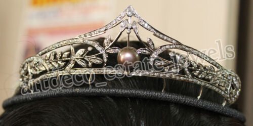 5.70ct ROSE CUT DIAMOND PEARL 925 SILVER WEDDING ANNIVERSARY HAIR JEWELERY TIARA