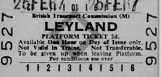 BRITISH TRANSPORT COMMISSION (M) - PLATFORM TICKET - LEYLAND 05.02.1967