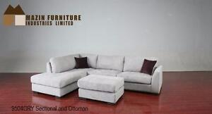 Contemporary 2pc Sectional and Ottoman offered in Chocolate or Grey Fabric *Ottoman Sold Separately* 02-15 Model 9504