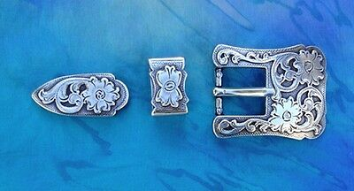 """Western Equestrian Rodeo Tack Bridle/Halter Flowers Two (2) Buckle Set's 3/4"""""""
