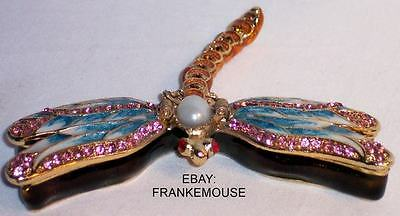 NEW ENAMELED BEJEWELED METAL UNIQUE DRAGONFLY TRINKET HINGED COLLECTIBLE BOX