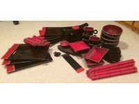 """black & red """"orient deco"""" ceramic tableware"""