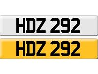 *HDZ 292* Dateless Personalised Cherished Number Plate Audi BMW M3 Ford VW Caddy Mercedes Vauxhall