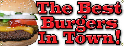 Custom Best Burgers Hamburger In Town Banner Sign Cheeseburger Food Cart Vendor