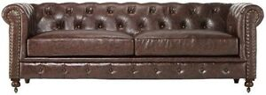 Restoration Industrial Hardware Kensington Chesterfield Style Sofa, New Gorgeous