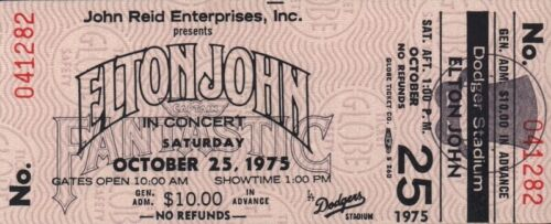 ELTON JOHN 1975 ROCK OF THE WESTIES TOUR UNUSED DODGER STADIUM CONCERT TICKET