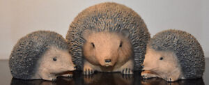 3 cute hedgehog figurines