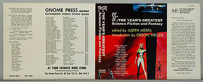 SF: THE YEAR'S GREATEST SCIENCE FICTION AND FANTASY GNOME PRESS 1956 DJ ONLY