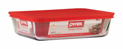 Pyrex  6 cups Clear/Red  Food Storage Container  1 pk for sale  Shipping to India