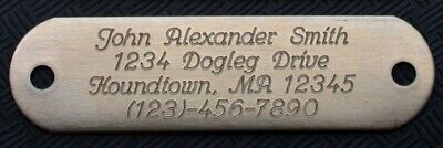 Solid Brass Dog Collar ID Tag Personalized Diamond Drag Engraved Custom Name