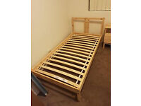 IKEA FJELLSE wooden single bed frame with mattress