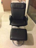 fauteuil en cuir noir style lounge chair, lazy boy pivotante
