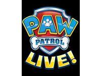 Paw Patrol Live, SEC Armadillo, Glasgow, 4 tickets, Saturday 2nd 10.30am
