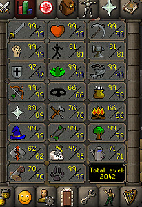 Runescape oldschool account for sale!  12 99's 2042 total!