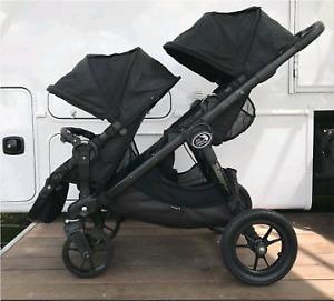 Poussette double City select baby jogger all black +adaptateur