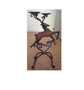 Wrought Iron and Wood Reindeer Floor Candle Stand