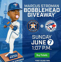 Astros vs Jays Stroman Bobblehead Upper Bowl Tickets 10 In A Row