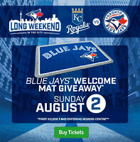 Welcome Mat Giveaway- Blue Jays vs Royals Sun Aug 2nd,2015