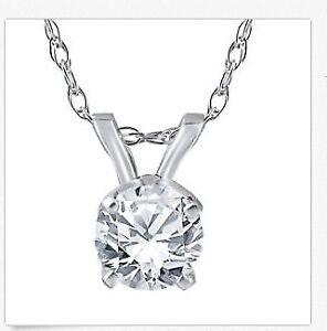 "Offer Solitaire Enhanced Diamond Pendant 14K White Gold w/ 18"" C"