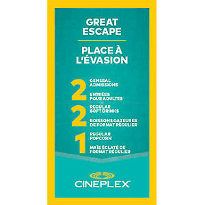 Cineplex Movie Passes - Night Out for 2 + Popcorn+Drinks