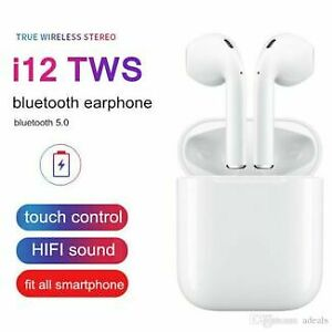 NEW VERSION - AirPod Style Wireless Bluetooth v5.0 Earbuds i12