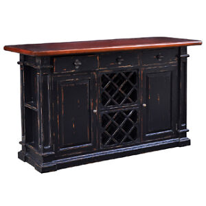 Bramble Furniture Roosevelt Rubbed Black Amp Mahogany Home Pub Bar Counter Island Ebay