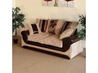 Kirk 2 seater Sofa in mink with chocolate brown.