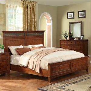 Stone Inlay queen size bed & frame